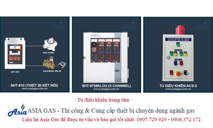 Tủ điều khiển trung tâm gas kết nối với đầu dò cam biến và van gas