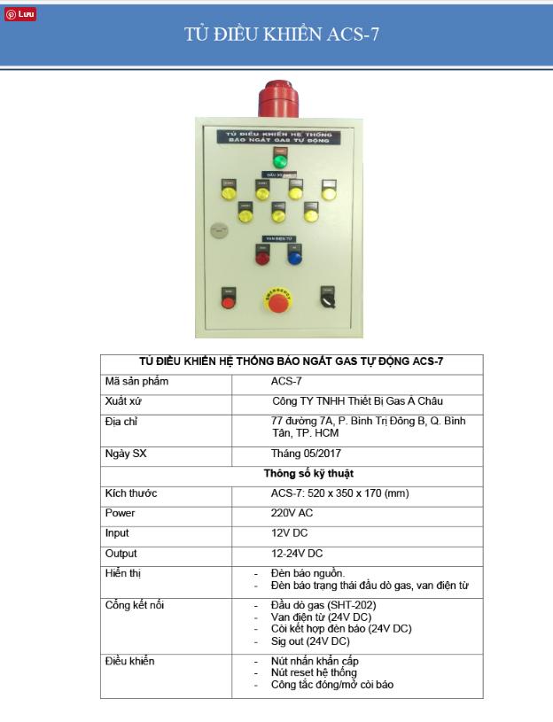 Tủ điều khiển báo rò rỉ gas công nghiệp acs